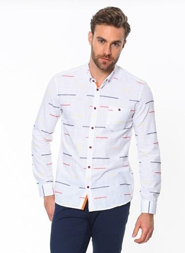 Cazador Slim Fit Uzun Kollu Desenli Gömlek Beyaz